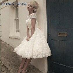 Vestidos de Novia Open Back Korte Trouwjurken Plus Size Knielange Lace vestidos novia cortos Jurken korte trouwjurk