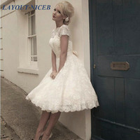 Vestidos de Novia Open Back Short Wedding Dresses Plus Size Knee Length Lace vestidos novia cortos Gowns korte trouwjurk
