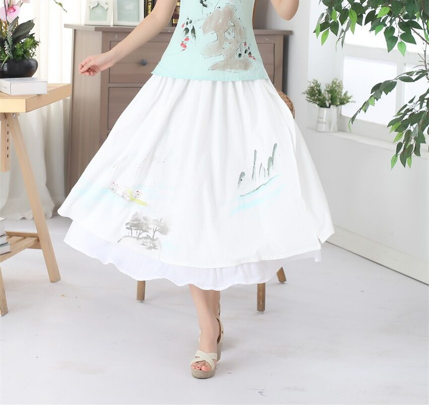 Hot Sale Cream Casual Style Womens Linen Cotton Elastic Waist Short Skirts Classic Chinese tang Clothing P0017