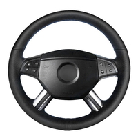 Black PU Artificial Leather Car Steering Wheel Cover for Mercedes Benz W164 M Class ML350 ML500 X164 GL Class GL4|Steering Covers| |  -