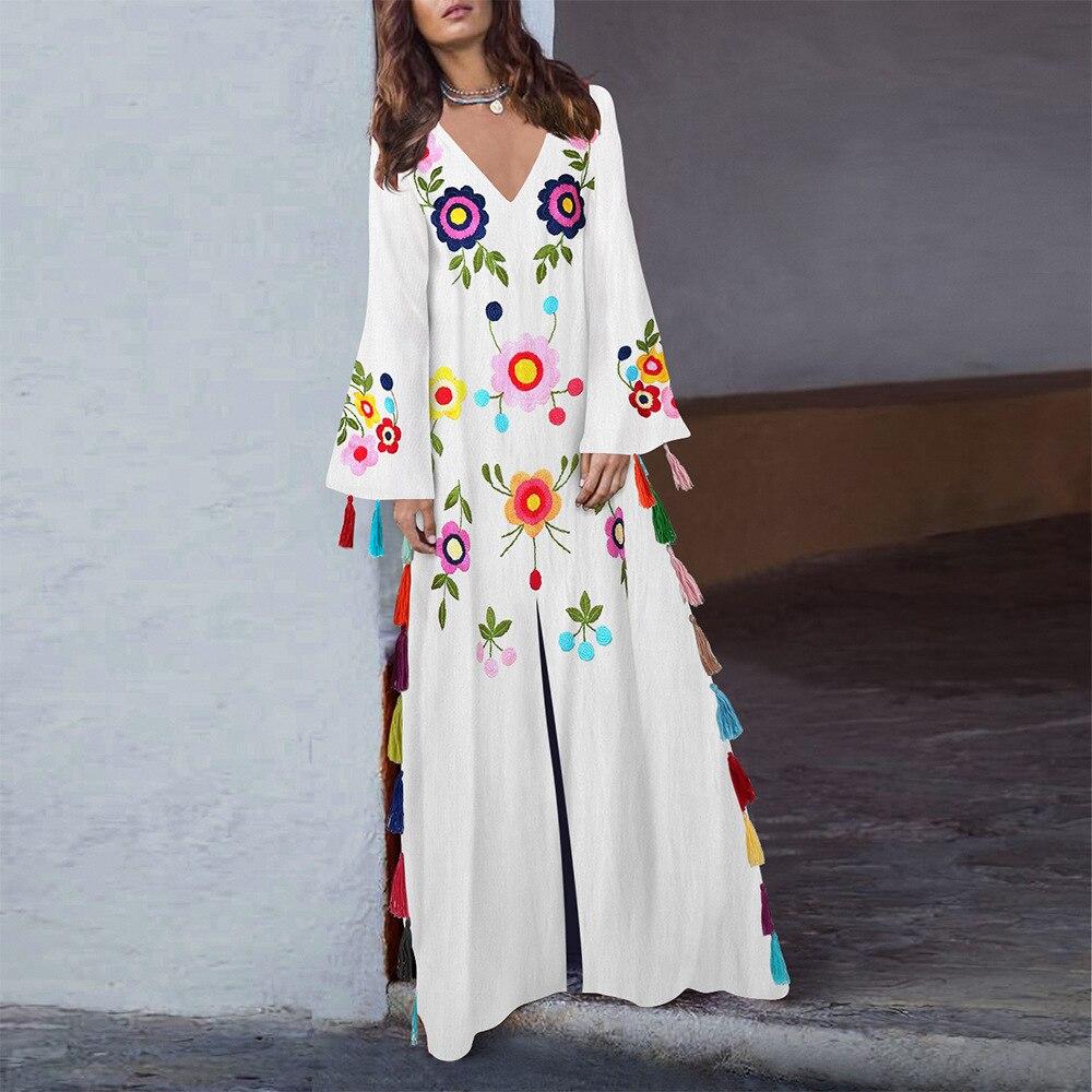 Broderie Style imprimé robes de soirée piste Floral bohème fleur imprimer Vintage Boho robes en maille pour les femmes Vestido