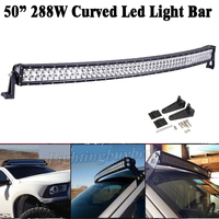 50 Inch 288W Led Curved Work Offroad Driving Light Bar Spot Flood Combo Beam For Truck