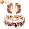 Coloridos Conjuntos de Joyas de moda Shining CZ Brazalete de Diamantes y Aretes de Oro Rosa Plateado Accesorios de La Joyería para Nupcial de La Boda