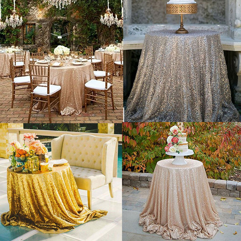 120 Inches Round Sparkle Gold Sequin Tablecloth Sequin Tablecloth Round  Sequins Table Cloth