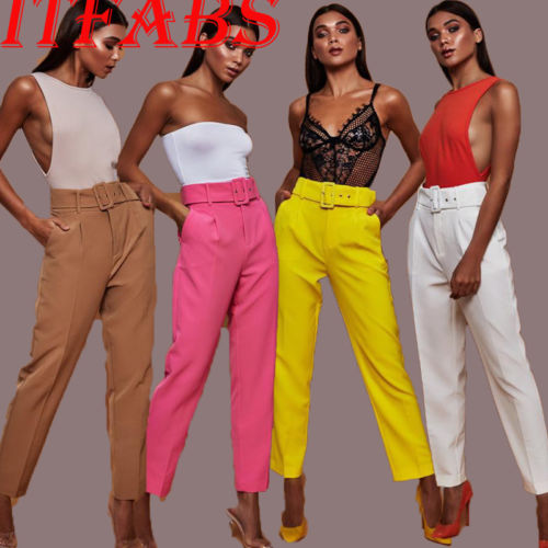 Women Lady Pants Summer Beach Casual High Waist Pants Trousers Chic Streetwear sash Casual Pants Capris Female elastic trousers