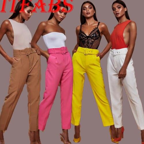 Women Lady   Pants   Summer Beach Casual High Waist   Pants   Trousers Chic Streetwear sash Casual   Pants     Capris   Female elastic trousers