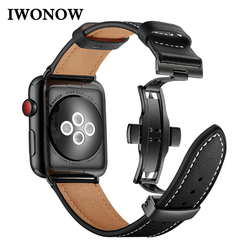 Italy Genuine Leather Watchband for iWatch Apple Watch 38mm 40mm 42mm 44mm Series 4/3/2/1 Band Butterfly Clasp Strap Wrist Belt