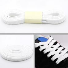 1Pair 100cm Polyester Thick Flat Shoelaces Wide Sports Casual Shoe Lace for Sneakers Lacet Off Black White Solid Color #5