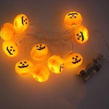 HANMIAO 10LED/1M LED String Lights Battery Operated Halloween Pumpkin 4cm Big holiday Christmas Party Decoration LED Garland 28 цена в Москве и Питере