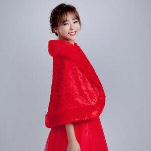 Image 5 - Vestes dhiver en fourrure pour femmes, enveloppe, accessoires de mariée, collection 2020