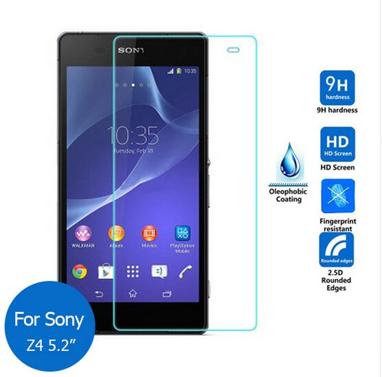 2.5D 0.3mm tempered glass For Sony Xperia Z4 Z 4 screen protector guard film front case cover +clean kits