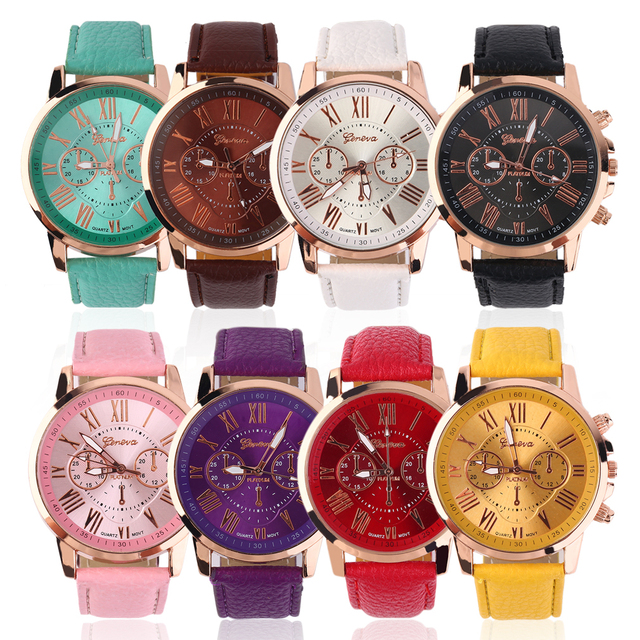 Unisex Men Male Casual Stylish Numerals Faux Leather Quartz Watch Montre femme F
