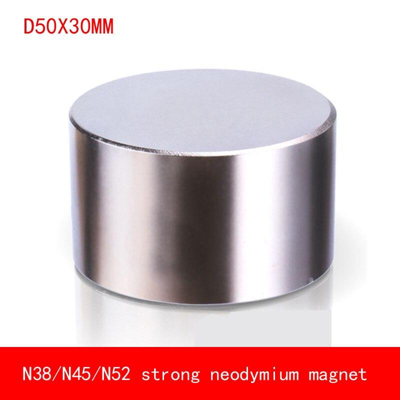 1 pz magnete Al Neodimio 50x30mm N52 Super strong rotonda magnet Rare Earth NdFeb N38 50*30mm più forte potente magnetico permanente