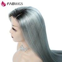 Fabwigs шелковистая прямая Синтетические волосы на кружеве человеческих волос парик Ombre 1B серый бразильский человеческих волос, парики предва