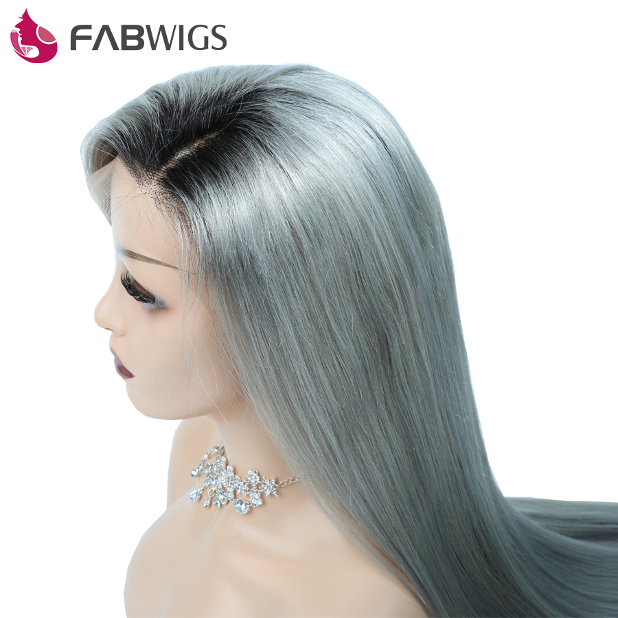 Fabwigs Lace Front Human Hair Wig With Baby Hair Ombre 1B Grey Silky Straight Brazilian Remy Human Hair Lace Wigs Pre Plucked