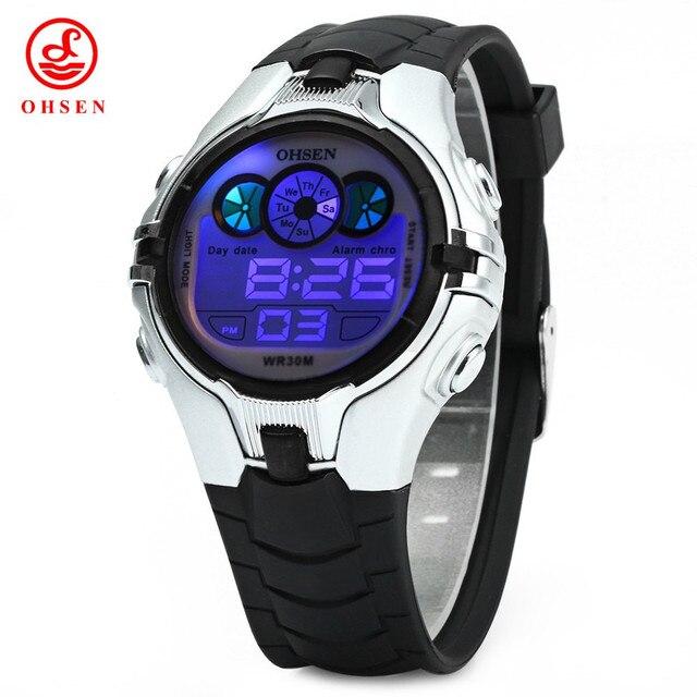 daef420f5d1b OHSEN Niños Kids Niños Reloj de Lujo Marca Moda Deportes Hombres Relojes  Digitales A Prueba de