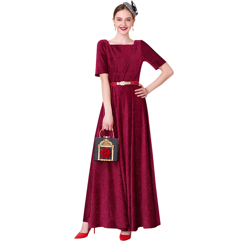 Luxe Vintage longue robe à manches courtes de mariage soirée formelle robe femmes fête rouge nuit Maxi longues robes 8093