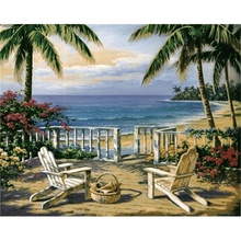 Laeacco Tropical Palm Tree Wall Art Seaside Posters and Prints Canvas Painting Nordic Home Decoration Living Room Decor
