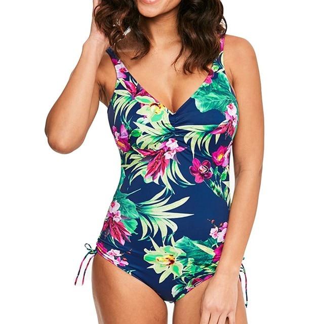 145ebf3c02 bikini 2019 summer swimwear women one piece swimsuits 2018 high waist  bikini set print floral bandage plus size xxl L3 Blue set