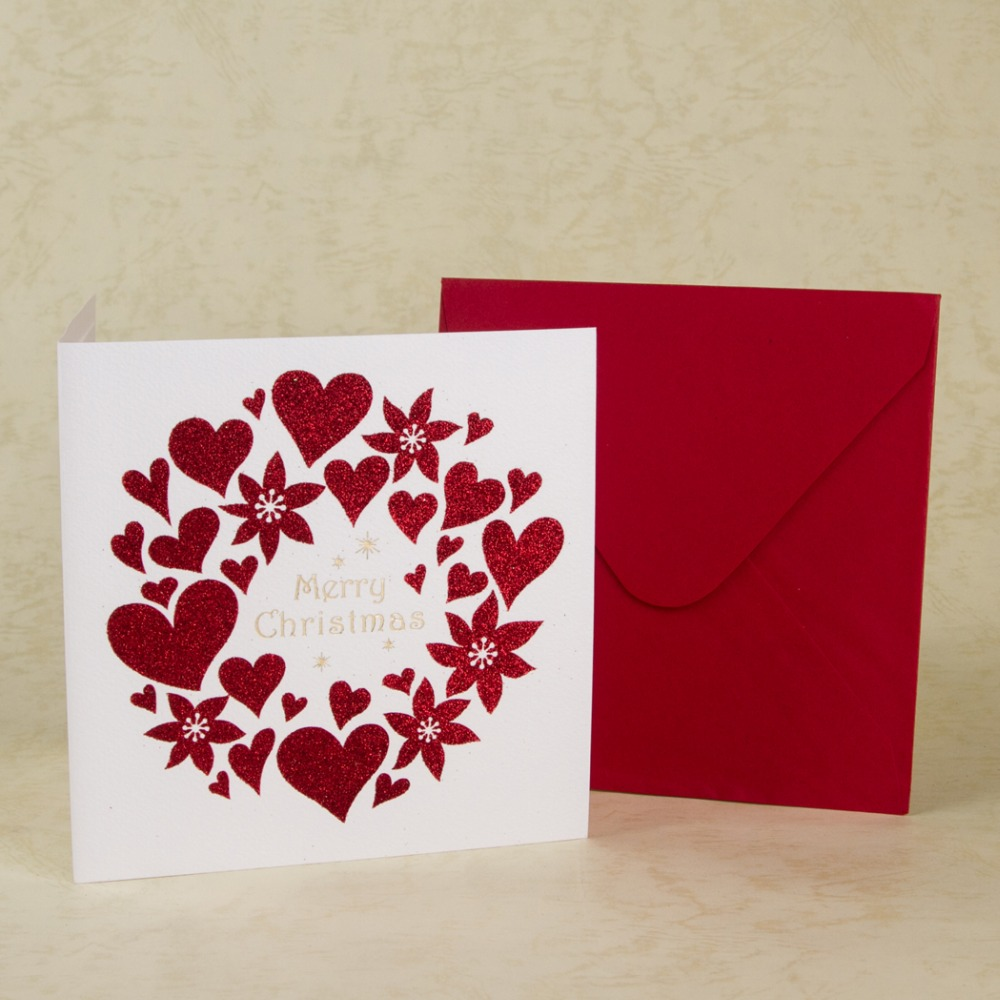Merry Christmas Cards Heart Design Folding Greeting Cards New Year