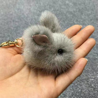 Play Dead Rabbit Fur Rabbit Bunny Keychain Mink fur pom pom keychain Mini Rabbit Toy Doll Hanging Bag Pendant Jewelry Accessory