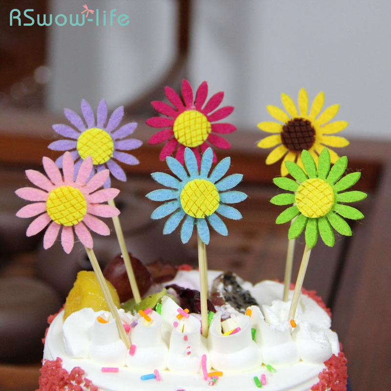Sunflower Cake Decorations Insert Card Birthday Decoration Dessert Table Dress Up 3 One Pack For Cakes Supplies