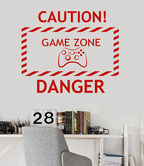 new home vinyl wall decal game zone video game teen room gaming stickers free shipping - Free Teen Room