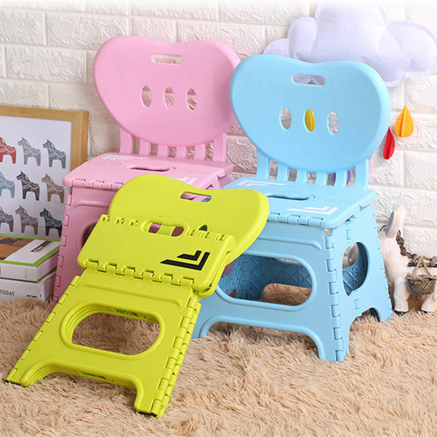 Thickened Folding Stool Plastic Backrest Portable Home Chair Creative Kindergarten Small Bench Children Plastic Chair