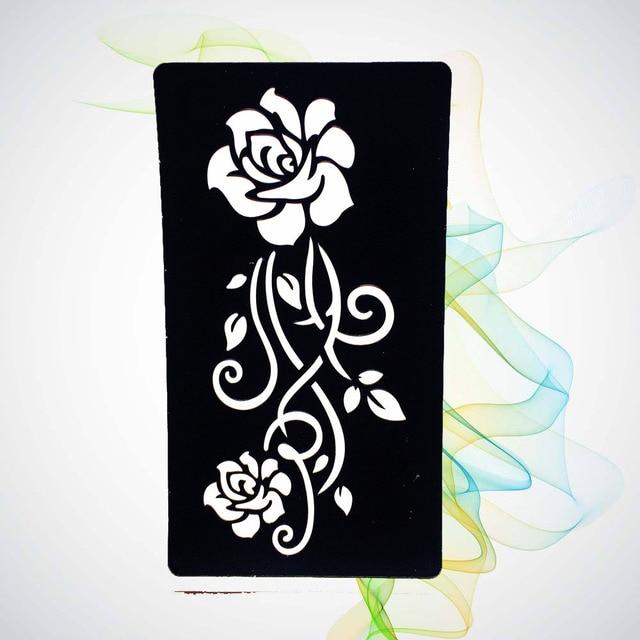 Women Henna Mehndi Rose Flower Hollow Tattoo Stencils Girl Body Art