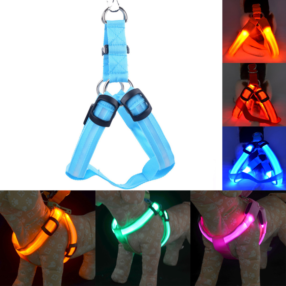 Image 5 - Rechargeable LED Nylon Pet Dog Cat Harness Led Flashing Light Harness Collar Pet Safety Led Leash Rope Belt Dog Accessories-in Harnesses from Home & Garden