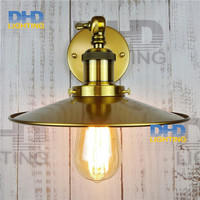 Free shipping brass finished E27 industrial edison wall lamp antique copper vintage beside lighting AC90 250V for bedroom