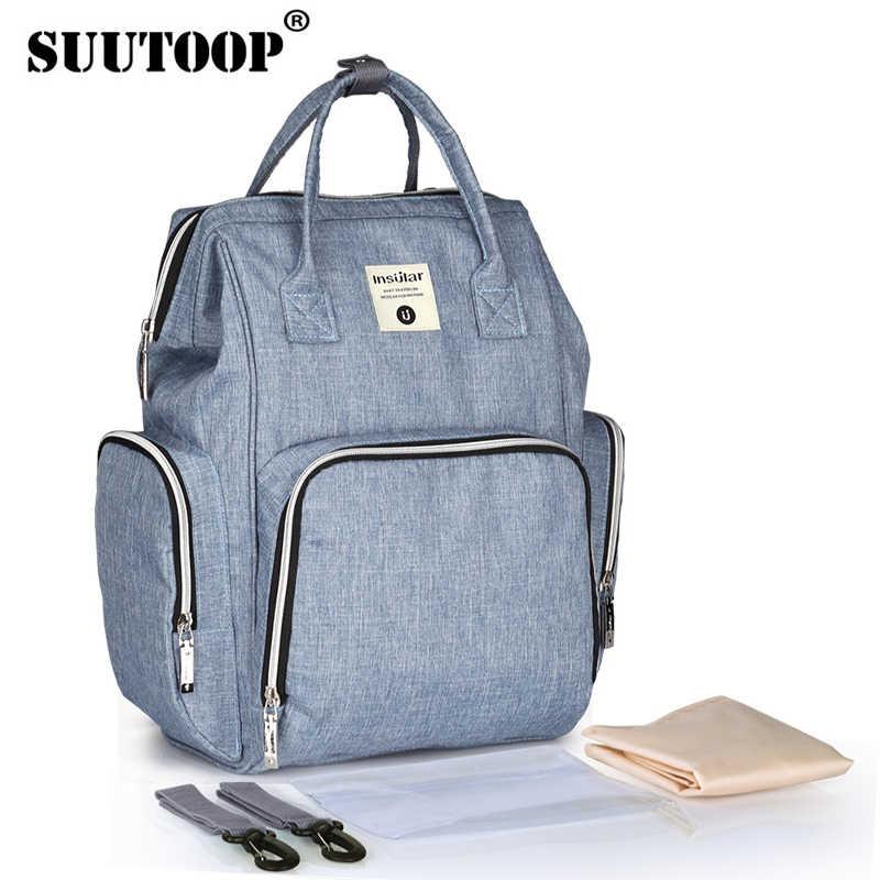 c1b71e87f8 SUUTOOP New Fashion Mummy Maternity Multifunctional Bag Mom Backpack Nappy  Bag Designer Nursing Bags For Baby