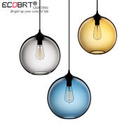 ECOBRT Modern creative personality color round glass chandelier for restaurant kitchen living room bar dining room lights