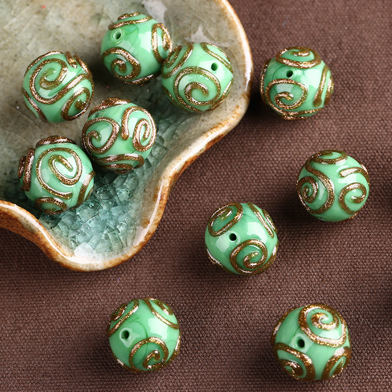 5pcs 10 mm round Charms Lampwork Verre Charms Loose Spacer Beads Jewelry Findings