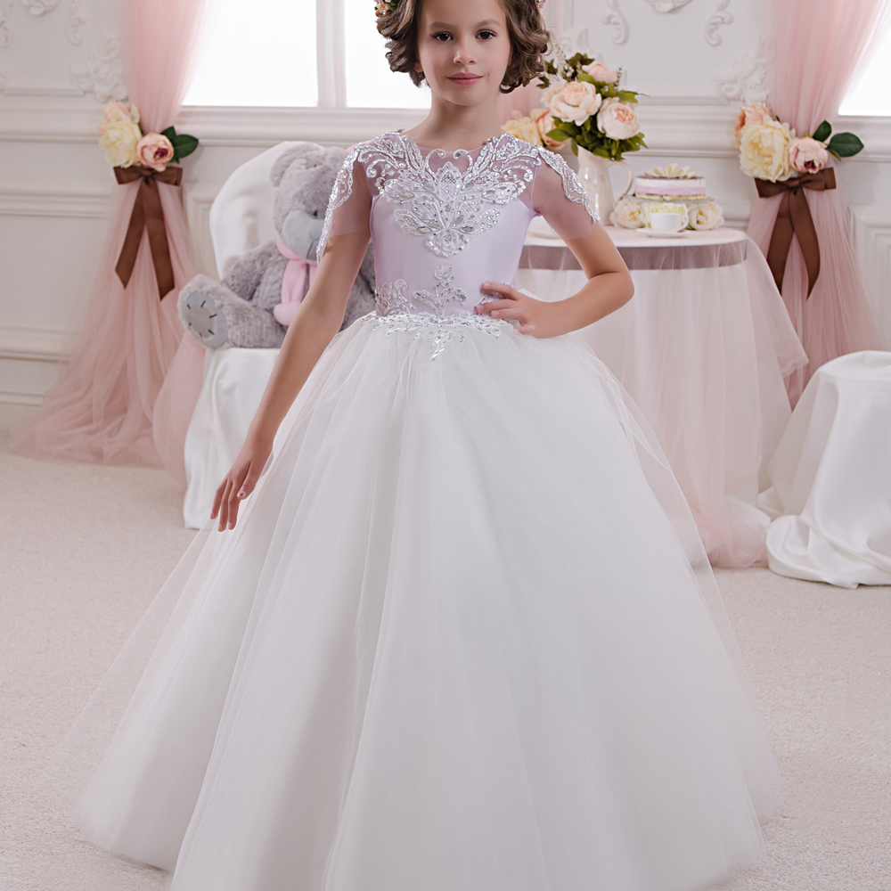Hot First Communion Dresses for Girls Formal Lace Ball Gown Short Sleeves Patchwork O-Neck Hot Sale New Princess Pageant Dress new arrival hot sale toddler princess girls sleeveless ball gown costume latin show fashion formal dancing dress