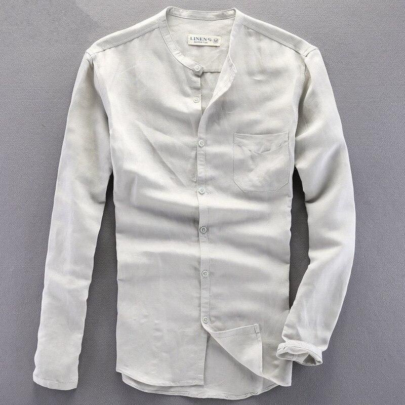 느슨한 작은 고리 공식 셔츠 남자 긴 소매 슬림 맞는 캐주얼 셔츠 남자 솔리드 드레스 린넨 셔츠 남자 Homens camisa chemise