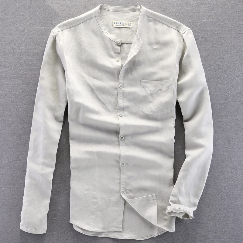 Loose small collar Formal Shirt Men Long Sleeve Slim Fit Cas