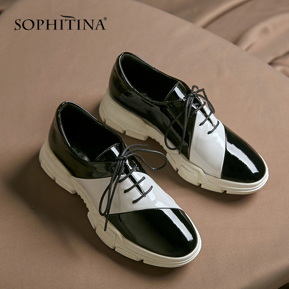 SOPHITINA New Women s Casual Flats Fashion Mixed Colors Patent Leather Lace Up Spring Shoes Sneaker