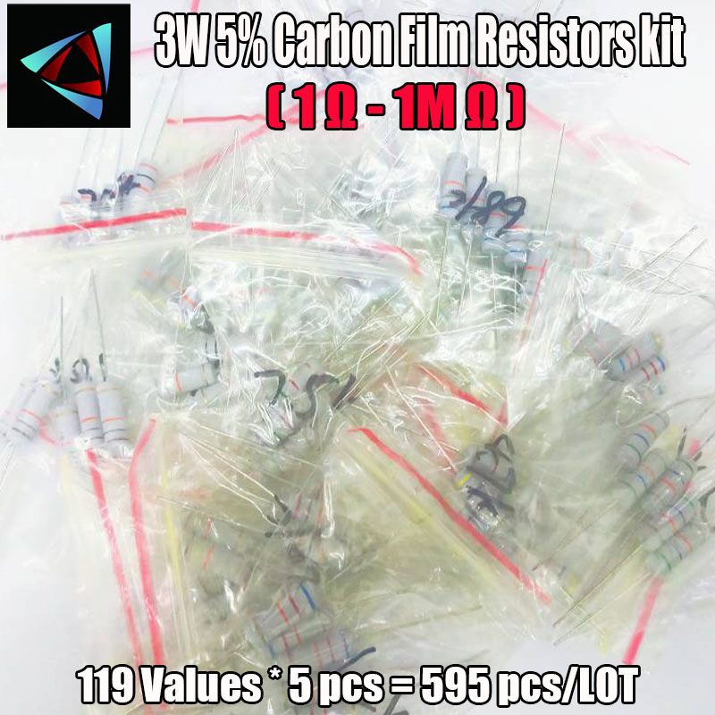 595Pcs 3W 5% 119 Values*5pcs Carbon Film Resistors 1 Ohm ~ 1M Ohm 5% Metal Oxide Film Resistor Kit