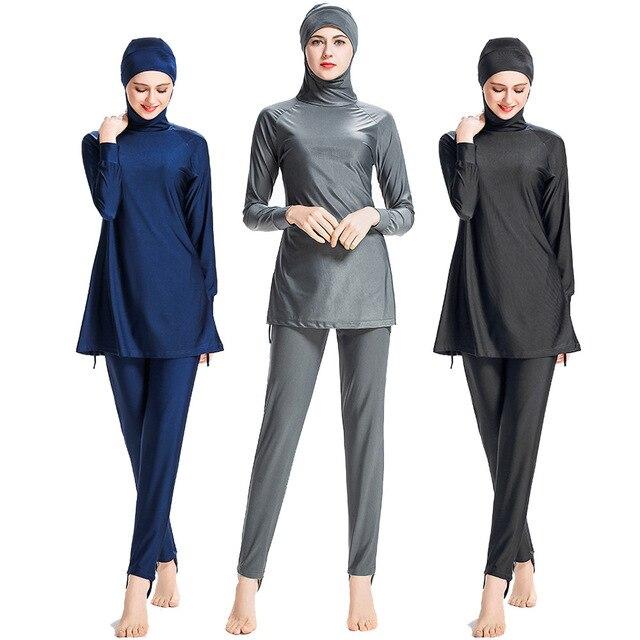 9805deaa80ebc Swimming Suit Girl Muslim Solid Black Muslim Swimwear Plus Size Modest Islamic  Swimsuit Hijab for Women