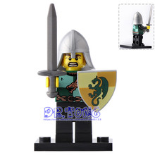 DR.TONG 20pcs/lot XH522 Medieval Dragon Frightening Knight Rome Soldiers Super Heroes Bricks Building Blocks Toys for Children