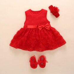Neue Geboren Baby Mädchen Infant Kleid & kleidung Sommer Kinder Party Geburtstag Outfits 1-2years Schuhe Set Taufe Kleid Baby Jurk zomer