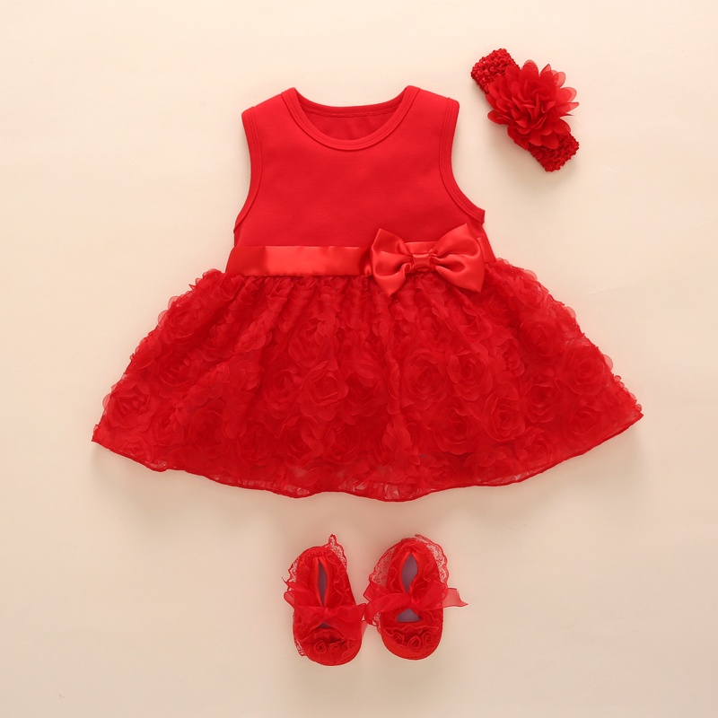 New Born Baby Girls Infant Dress clothes Summer Kids Party Birthday Outfits 1 2years Shoes Set