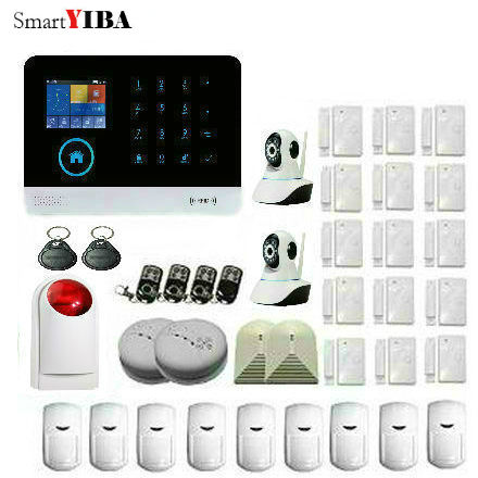 SmartYIBA APP Control 2.4G Smart Home Security Alarm Kits RFID WIFI GSM Alarm System WIFI Network Camera Home Protection
