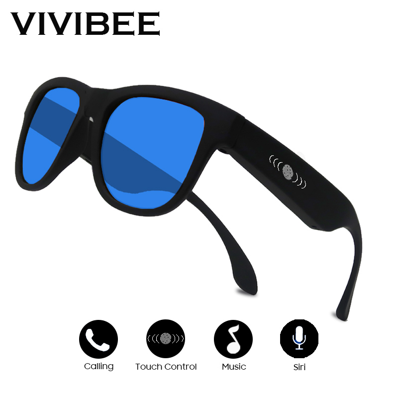 VIVIBEE Square Frame Polarized Blue Mirror Lens Men Music Sunglasses Summer 2019 Polarizing Bone Conduction Audio