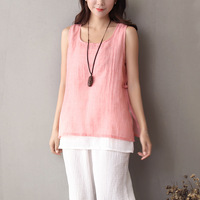 Solid 2 Layer Original Design Women Tank Top Red Pink Chinese Style Kawaii Cute Casual Tank