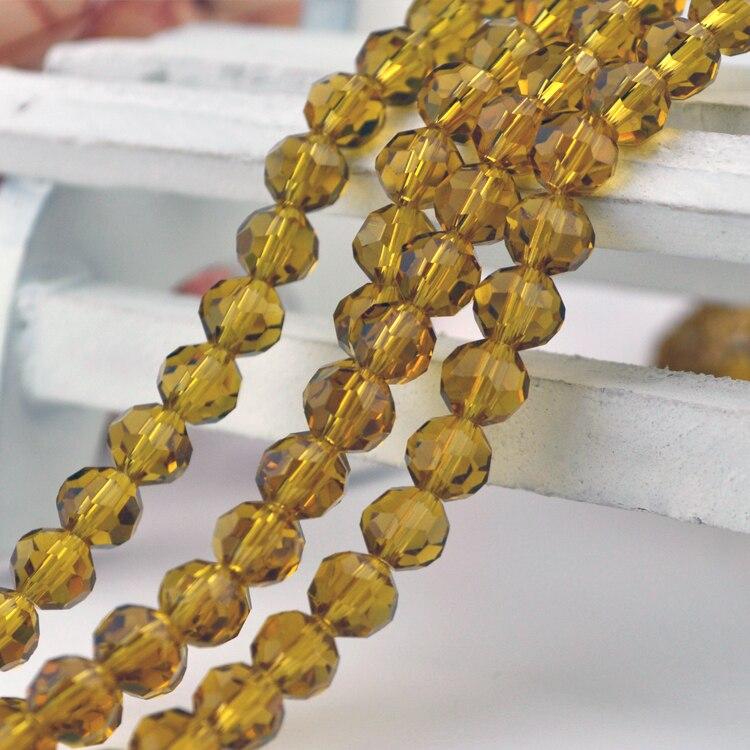 715 шт./лот Jewelry Бусины 8 мм Ограненный Кристалл Круглые Стекло Свободные Spacer бисера коричневый Цвет для Цепочки и ожерелья и браслет решений