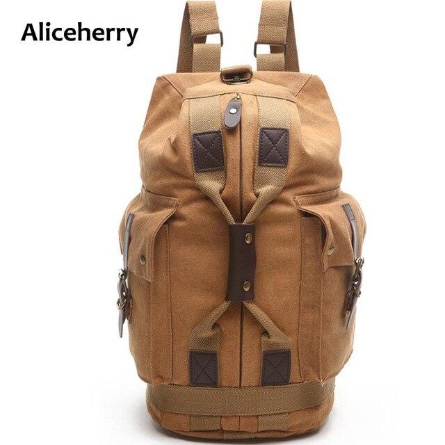 Men Canvas Backpack Multi-function School Students Back Pack Travel Rucksack Large Capacity Male Shouler Bag