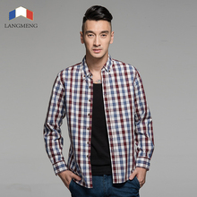 Langmeng 2016 spring autumn mens fashion 100% cotton brand long sleeve plaid shirts male retro style vintage casual shirt men