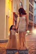2016 mutter tochter passenden mode champagne kleid, organza handmade perlen schmuck, perle kleid elegante kleider abendkleid